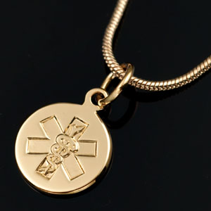 14k Yellow Gold Medical Pendant or Charm 3/8 inch