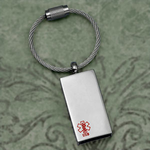 USB Flash Drive Medical ID Stainless Steel Keychain