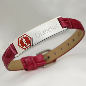 Dark Pink Leather Diabetes Medical Bracelet 6 – 7 1/2 inch