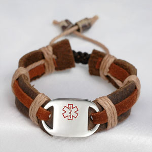 Leather and Hemp Child ID Medical ID Bracelet