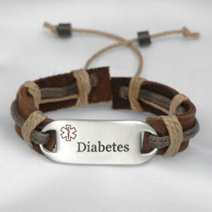 Leather and Hemp Diabetes Medical ID Bracelet
