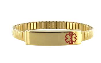 Womens Gold Tone Expansion Alert Wristband